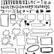 Hand drawn font and numbers, doodles bubble speech, signs and symbols — Stock Photo