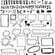 Hand drawn font and numbers, doodles bubble speech, signs and symbols - Stock Photo
