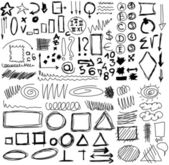 Set hand drawn shapes, circle, square, triangle, numbers, line — Stock Photo