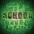 Stock Photo: School Doodle seamless green chalkboard background