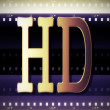 3D HD golden symbol on film strip background — Stock Photo