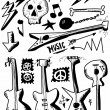 Doodle music, heavy metal, hand drawn guitars — Stock Photo