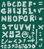 School Doodle alphabet, hand drawn font and numbers — Stock Photo