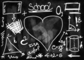 School Doodle blackboard background and texture — Photo