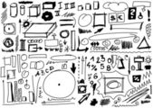 Doodle design elements, Set hand drawn shapes, circle, square, triangle — Stock Photo