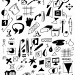 Doodle drawing equipment and Icons — Stock Photo