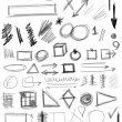 Set hand drawn shapes, line, circle, square, triangle — Stock fotografie