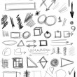 Set hand drawn shapes, line, circle, square, triangle — Stock Photo #26572717