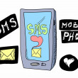 Doodle sms love mobile phone — Stock Photo #26577125