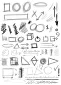 Set hand drawn shapes, line, circle, square, triangle — Stock Photo
