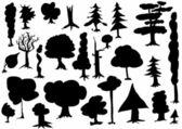 Hand dras siluett träd — Stockfoto