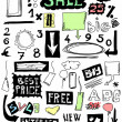 Foto Stock: Hand drawn sale, doodles desing elements