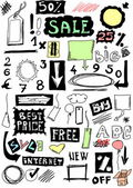 Hand drawn sale, doodles desing elements — Stock Photo