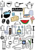 Doodle kitchen and food — Stock Photo