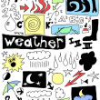 Weather funny doodle icons set, hand drawn — Stock Photo