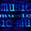 Illustration of music word background, blue concept texture — Foto Stock
