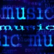 Illustration of music word background, blue concept texture — Стоковая фотография