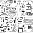 Set hand drawn, doodle, shapes, circle, square, line, numbers, triangle — Stock Photo
