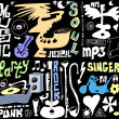 Doodles funny music background and texture — Stock Photo