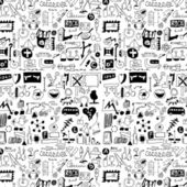 Big set simplified design elements doodle icons, hand drawn background — Stock Photo