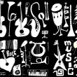 Doodles musical instruments funny music isolated on black, hand drawn — Stock Photo #29640231
