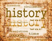 Koncepce dějin na staré papírové pozadí s ornamenty — Stock fotografie