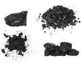 Set pile black coal isolated on white background — Stock Photo