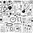Set hand drawn, doodle, shapes, circle, square, line, numbers, signs isolated on white — Stock Photo