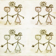 Simplified hand drawn boy and girl on old paper background, doodle children drawing — Stock Photo