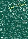 Back to school, doodle school symbols on chalkboard — Stock Photo