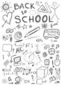 Back to school, doodle school symbols isolated on white background — Stock Photo
