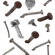 Set old metal nail and screw head isolated on white, design elements — Stock Photo #29985853