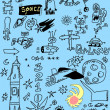 Space doodles set — Stock Photo