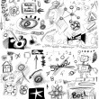 Back to school, doodle school symbols isolated on white background — ストック写真