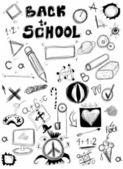 Regreso a la escuela, doodle símbolos escuela aislados en blanco — Foto de Stock