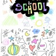 Back to school, doodle school symbols isolated on white — Stock Photo