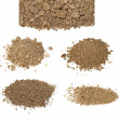 Set pile dry dirt isolated on white background — Stock Photo
