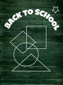 Doodle back to school background, doodle school symbols on old chalkboard — Stock Photo