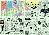 Doodles funny music background — Stock Photo