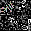 Big sale doodles on black background — Stock Photo