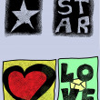 Doodle love, star, heart, hand drawn icons — Stock Photo