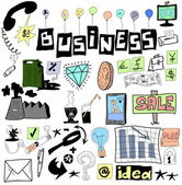 Business doodle design elements, hand drawn illustration — Stock Photo