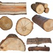 Set log fire wood isolated on white background with clipping path (high resolution) — Stock Photo