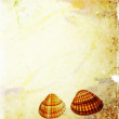 Stock Photo: Sheet of old, soiled paper with shells background, grunge texture