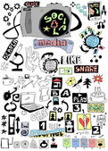 Doodle social media, Hand drawn background — Stock Photo