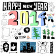 Doodle happy new year 2014 — Stock Photo