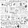 Set hand drawn, doodle, arrow, shapes,  line, numbers, circle, square — Stock Photo