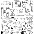 Hand drawn design elements business , doodle arrow, shapes, line, numbers, circle, square — Stock Photo