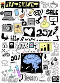 Doodle design elements, hand drawn illustration internet — Stock Photo