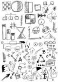 çizilmiş tasarım öğeleri iş ver, doodle ok, şekil, çizgi, numaraları, daire, kare — Stok fotoğraf